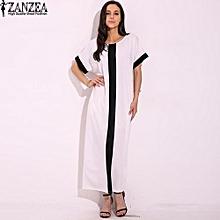 ZANZEA Women Stripe Splice Casual Loose Vestido Summer Short Sleeve Party Club Maxi Long Shirt Dress Kaftan Robe Plus Size S-5XL (Off White)