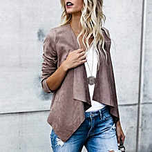 Women Long Sleeve Lapel Jacket Coat Asymmetrical Cardigan Outwear Jacket Coat Dark Grey
