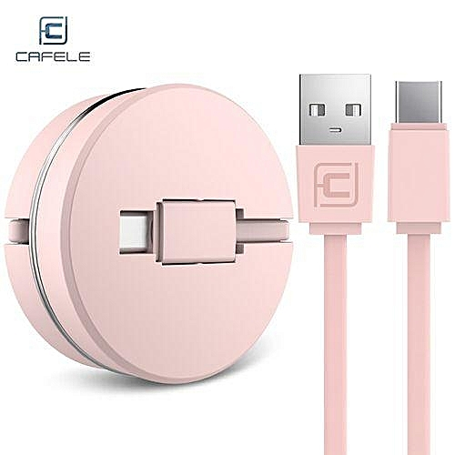 Circular Cover Stretchable Type-C Data Charging Cable 1M - Pink