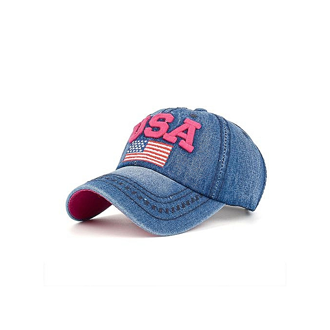 33b0ae3e972 Women Men USA Denim Rhinestone Baseball Cap Snapback Hip Hop Flat Hat HOT