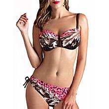 XL-4XL Woman Tracy Push Up Backless Printing Bowknot Underwire Gather Bikini