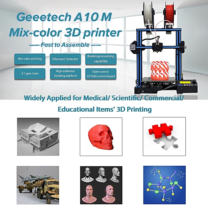 Geeetech A10M 3D Printer DIY Kit Aluminum Profile Quick Assembly 220 * 220  * 260mm Support 2-In-1 Mix-Color Printing Break-Resume Capacity Filament