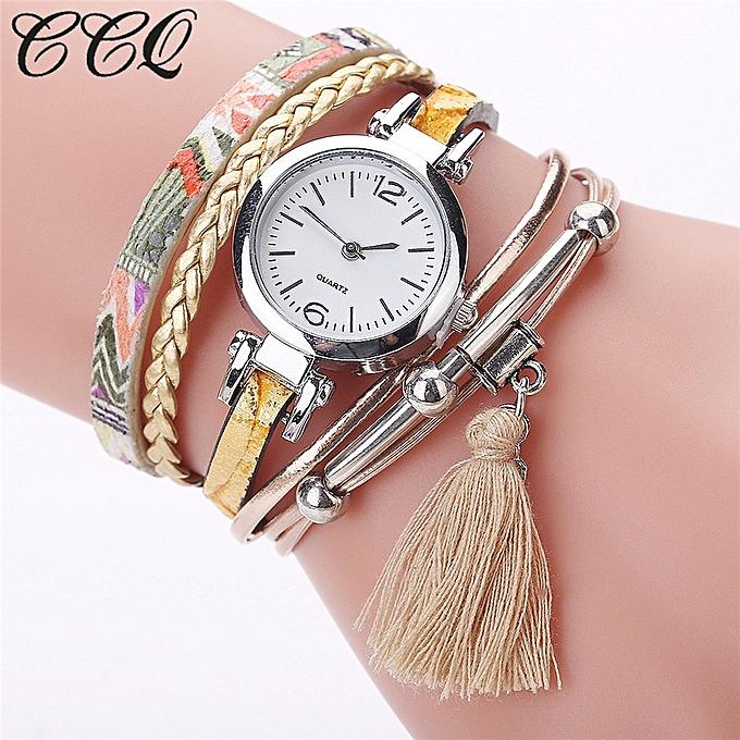 CCQ Fashion Women Girls Analog Quartz Wristwatch Ladies Dress Bracelet Watches-Colorful