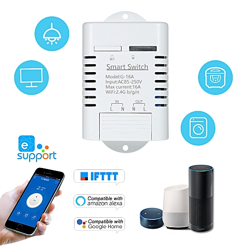 Smart Wifi Switch Compatible with Sonoff & EWeLink 16A/3500W Wireless  Remote Switch Timer for Android/IOS APP Control Compatible with