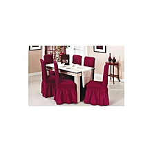 Linen Fabric Slipcover for Scroll Top Dining Chair - Wine Red