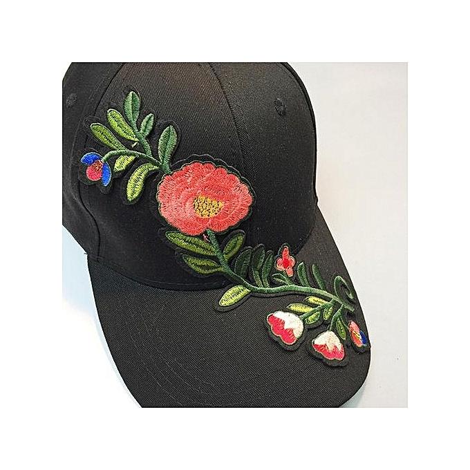 Women Men Couple Applique Floral Baseball Cap Unisex Snapback Hip Hop Flat  Hat 0d348eb2831