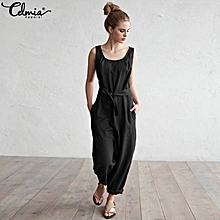 Celmia Womens Ladies Round Neck Sleeveless Cotton Linen Summer Holiday Loose Jumpsuit Overalls