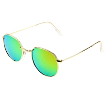 Uv400 Uv Protection Metal Frame Ac Lens Sunglasses (gold + Pink)