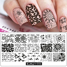 bluerdream-New Women Nail Art Manicure Rectangle Nail Art Stamping Template Plates  F-silver