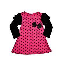 Pink polka dot long sleeved dress