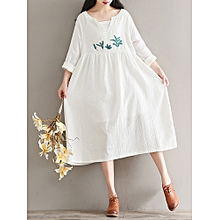 Mori Girl Vintage Long Sleeve V-Neck Embroidered Maxi Dress