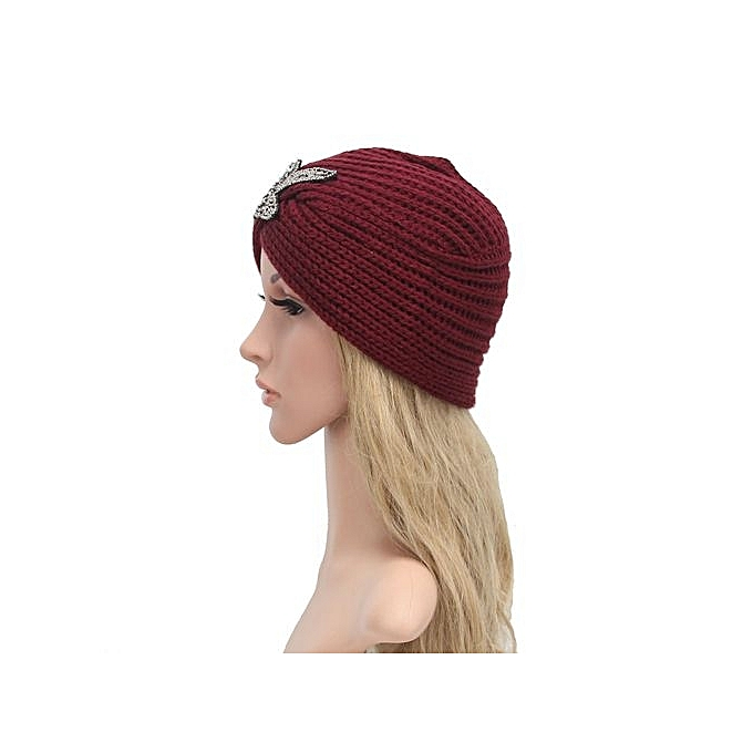 608a9ead909 ... Fashion Womens Winter Warm Knit Crochet Ski Hat Braided Turban  Headdress Cap RD ...