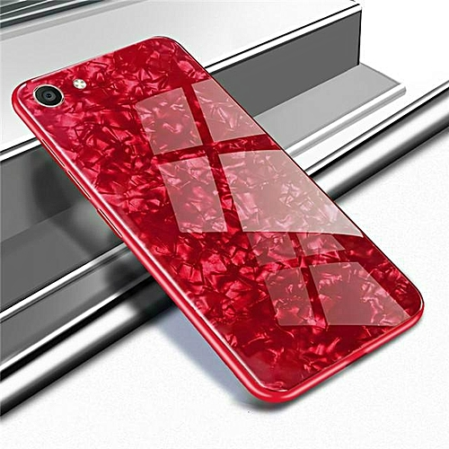 lowest price 93638 45a50 For VIVO Y71 Luxury Hard Tempered Glass Case Marble Shell Pattern Design  Glass Back Cover For VIVO Y71 Housing 241660 (Red)