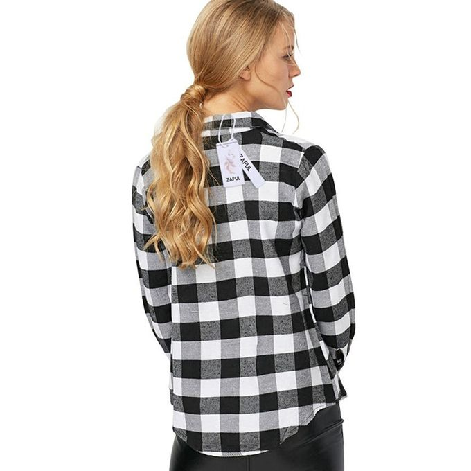 Zaful ladies plaid t shirt black buy online jumia kenya for Buy plaid shirts online