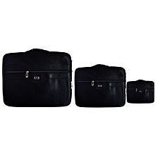 3-Set Laptop/Notebook Strap Bag -Black