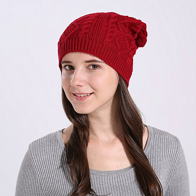 cb4d57721ca Fashion singedanWomen Baggy Warm Winter Wool Knit Ski Beanie Caps ...