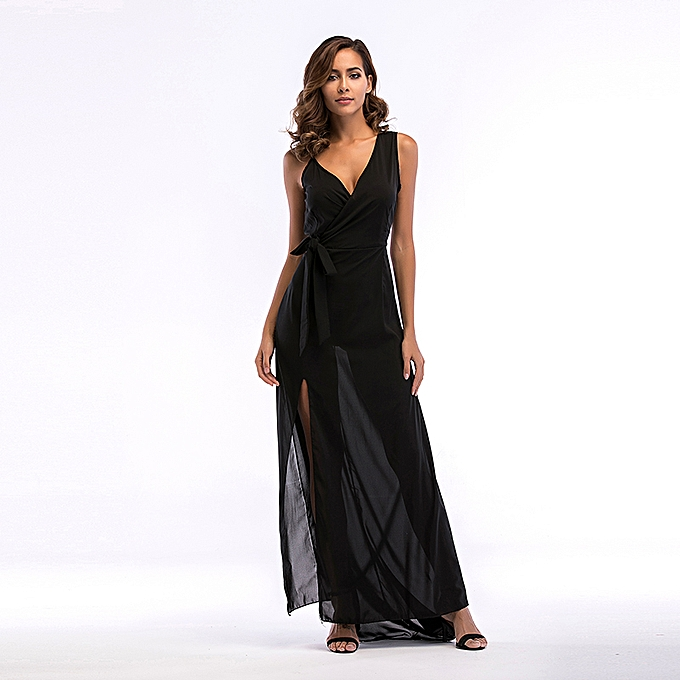 789adf1f7b Fashion V Neck Side Split Chiffon Long Evening Party Dress-Black ...