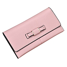 Women Purse Wallet Clutch Card Holder Bow PU Female Large Capacity Wallet pink