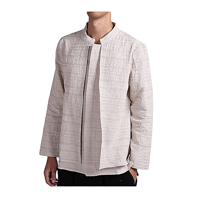 19b752783 Vintage Chinese Style Linen Casual Loose Spring Autumn Long Sleeve Shirts  Coat for Men