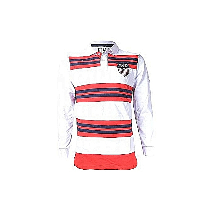 8251ceb589f ... australia white red and blue striped v neck polo shirt long sleeved  1a40d b3730