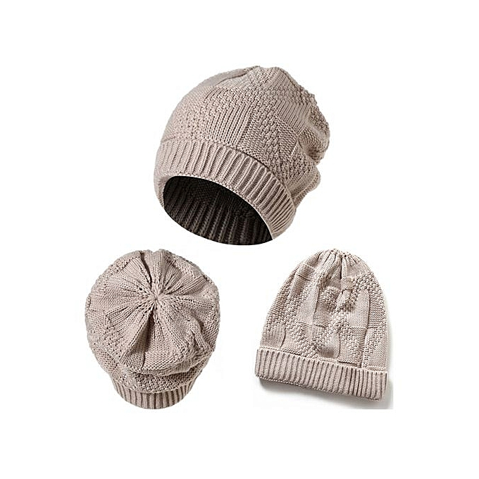 256f2f6305f Men Women Knit Baggy Beanie Oversize Winter Hat Ski Slouchy Chic Cap Beige
