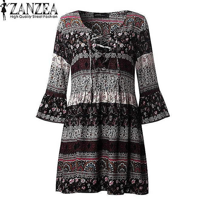 ZANZEA Women Vintage Floral Print Mini Dress Ladies Sexy V Neck Lace Up 3 4 26e0446ec