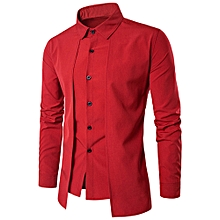 Luxury Men Casual Shirt Long Sleeve Formal Business Slim Dress Shirt T Shirt Top- Red