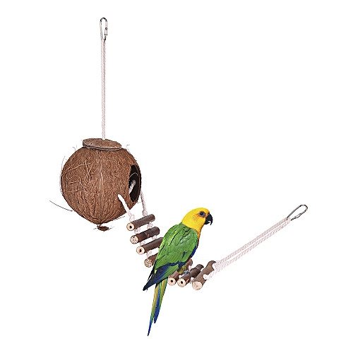 Nesting Bird House For Cage Or Outside - Responsible Natural Coconut Shell Bird House