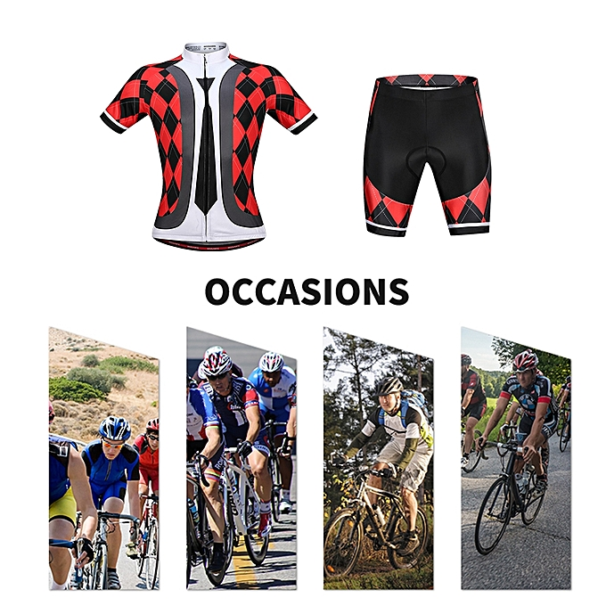 ... Men's Cycling Jersey Set Breathable Quick-Dry Short Sleeve Biking Shirt with Gel Padded Shorts