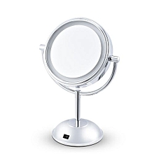 Portable Cosmetic Makeup Mirror Double Sided Magnifying - Silver