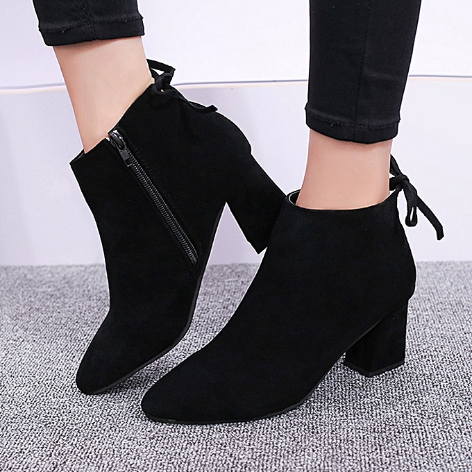 Women Boots Square Heel Lace Up Ankle Boots Martin High Heels Platform Boots