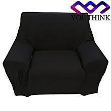 Single Sofa Plush Stretch Anti-mite Soft Couch Slipcovers Black