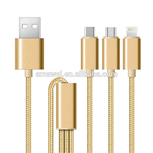 iPhone 5/6/6 plus/6s Cable, android cable, huawei cable three in one (gold)