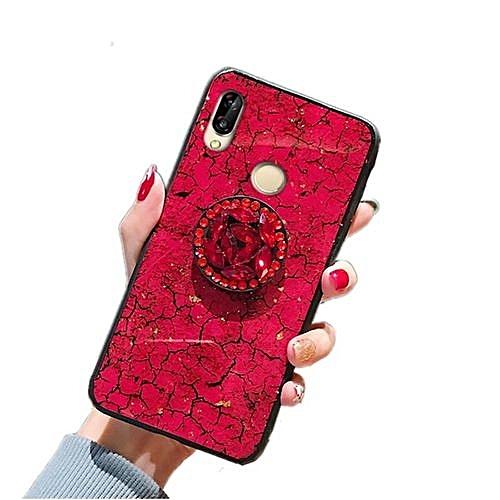 Phone Case For Huawei Nova 3i , Marble Pattern + [Anti Falling] Shining  Glitter Bling Airbag Bracket [Shockproof] Expanding Phone Stand /Stretch