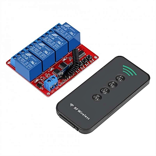 Elegant 433MHz 12V 4CH Wireless Remote Control Switch Relay Receiver Module  + 4-Key RF Transmitter Kit