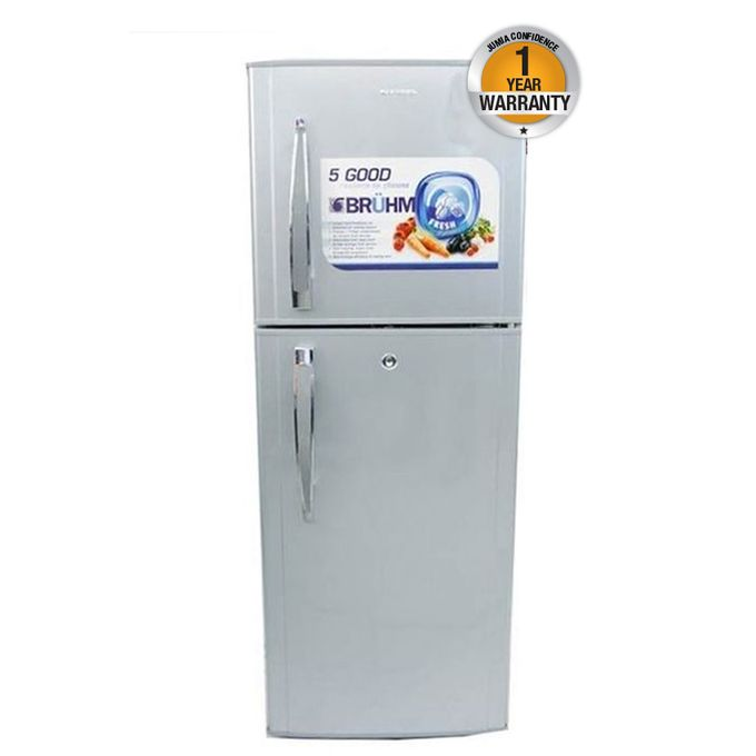 BRD140 - Double Door Refrigerator - 6.5Cu.Ft - 120 Litres - Silver
