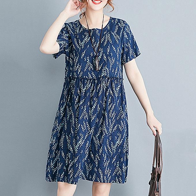 4dbbddb0a4ab New Women Mini Dress Fresh Print O-Neck Short Sleeve Casual Loose Girls Summer  Dress