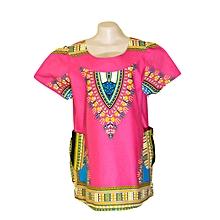 Women's African Print Design Blouse - Dark Pink