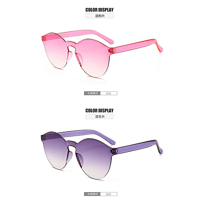 00e20a4ec40c Wrap-around jelly New One Piece Lens Sunglasses Women Transparent Candy  Color Sunglasses Pink purple