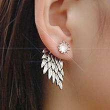 Olivaren 1Pair Women Wing Shape Alloy Ear Stud Imitation Diamond Earrings Jewelry SL -Silver