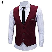 Men's Classic Formal Business Slim Fit Chain Dress Vest Suit Tuxedo Waistcoat-Red
