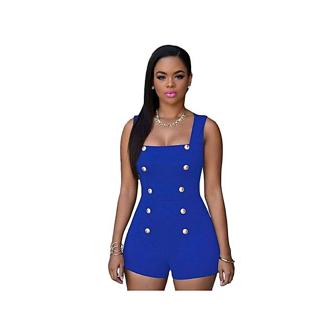 40aa275fc3f Fashion Women Jumpsuits Ladies Sexy Hollow Out Solid Casual Playsuits  Jumpsuits -blue