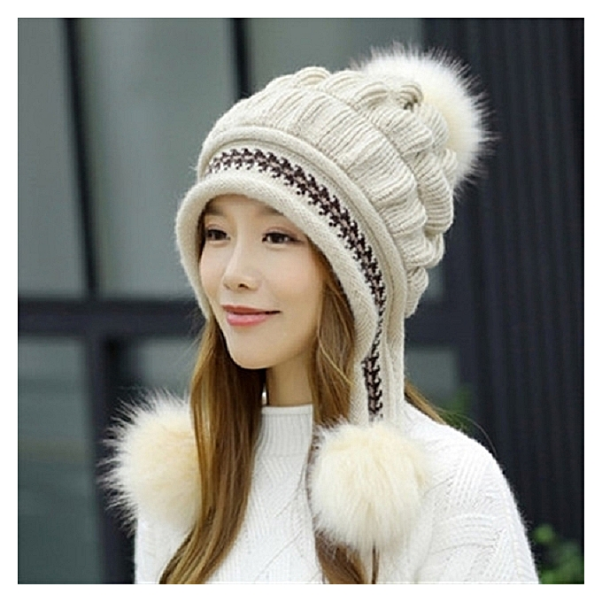 3571f8ef069 Fashion 1Rice yellow hatHat female Han Ban Bai takes knit fabric knitting  wool in winter gloves to keep warm to add Rong to thicken to protect an ear  rabbit ...
