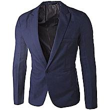 Slim Fit Men's Blazer Jacket -  Navy Blue