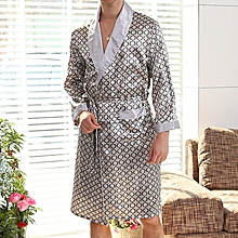 Mens Imitation Silk Printing Bathrobe Summer Thin Long Sleeve Home Casual Sleepwear Robe