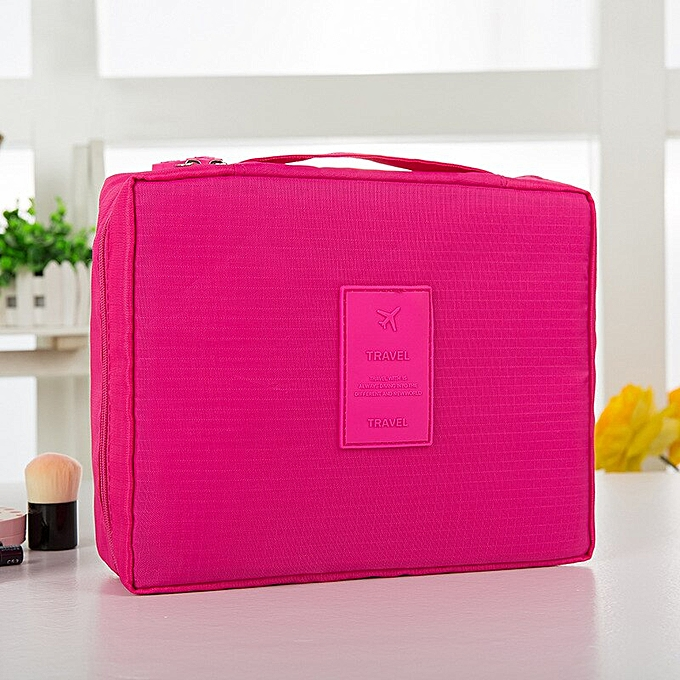 e25466bbc12a Zipper Men Women Makeup Bag Travel Cosmetic Bag Beauty Case Make Up  Organizer Toiletry Bag Kits Travel Wash Pouch(Rose red)