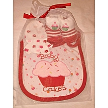 Cute Cotton Baby Feeder, Booties And Mitten Set - Red