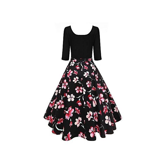 Buy VINTAGE Vintage U Neck Floral Print Pin Up Dress @ Best Price ...