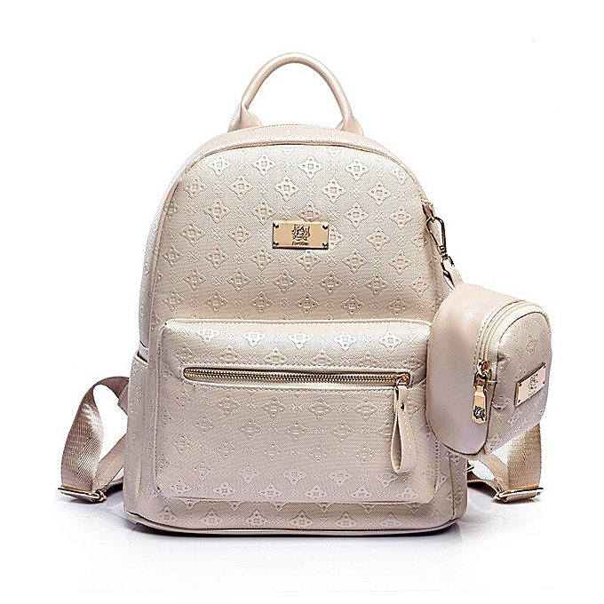 86ba7d3d818f Summer New luxury Women Backpack with Purse Bag Female PU Leather Eming  High Quality School Bag for Teenagers Travel bag(beige)