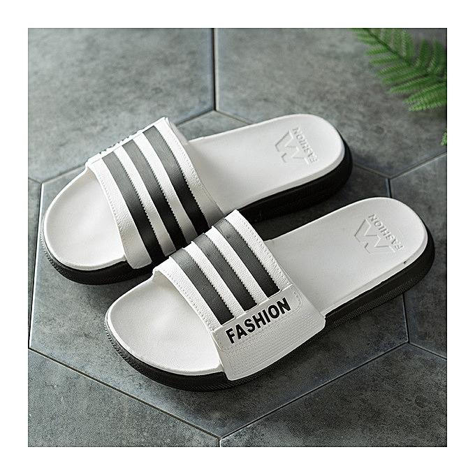 76741260e0a960 Generic New Men Slipper Casual Shoes Non-slip Slides Thick bottom Bathroom  Summer Sandals Soft Sole Flip Flops Man-white